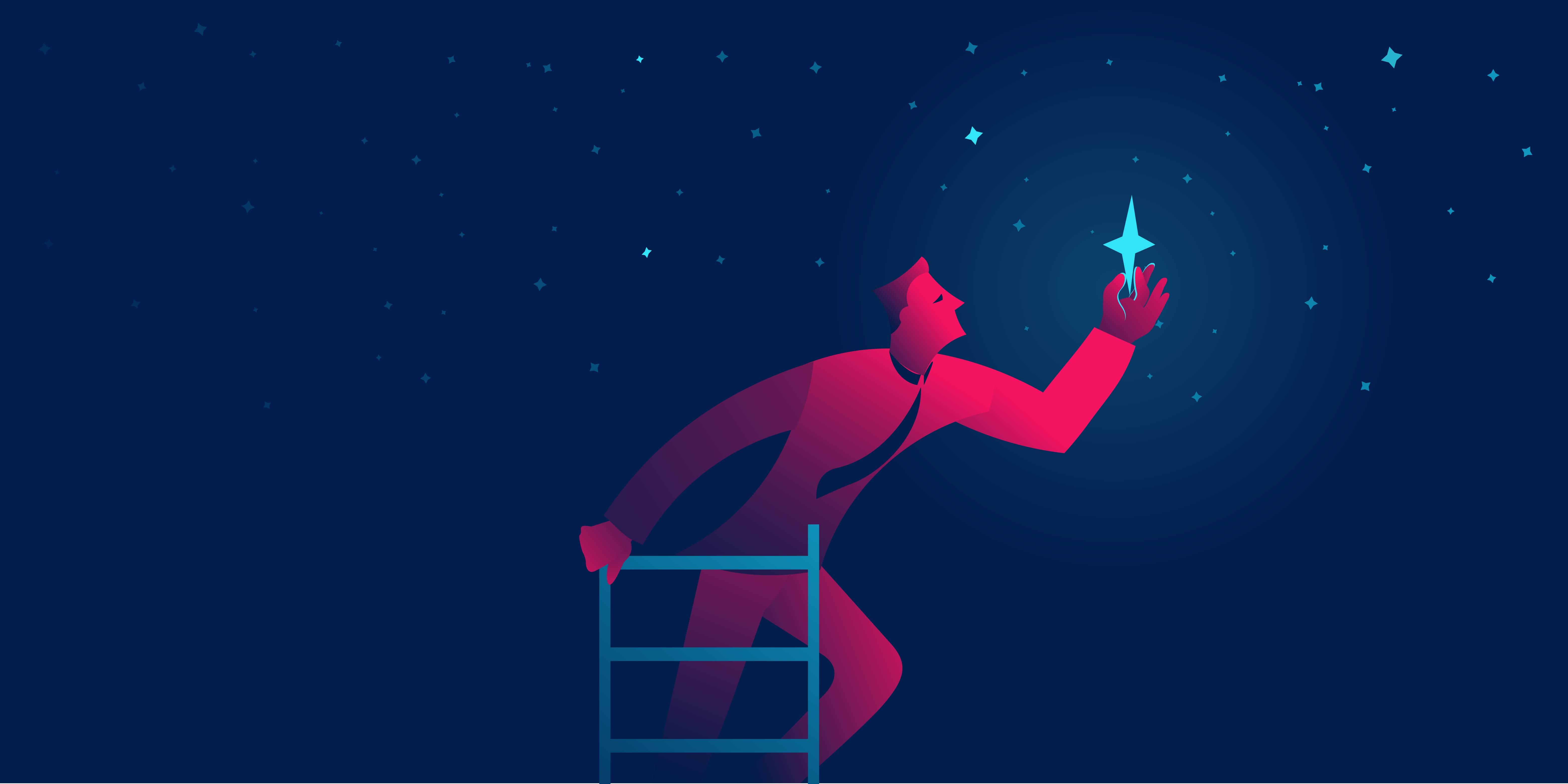 איש על סולם מחזיק כוכב משהמיים