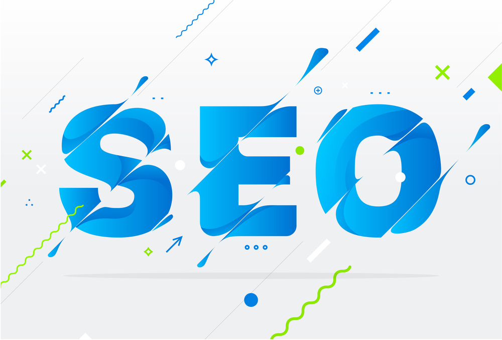 SEO in blue letters
