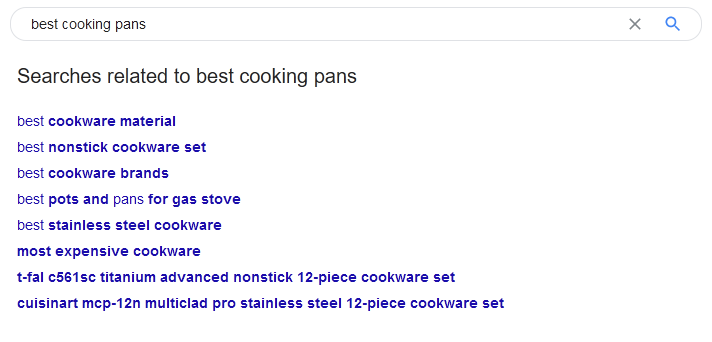 Google suggested keywords