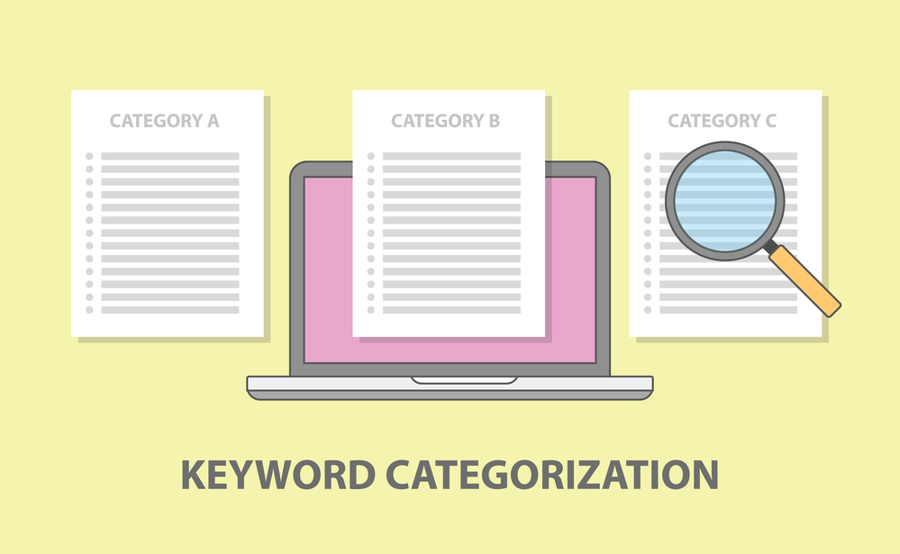 Keyword category categorization with laptop and paper document magnifying glass vector illustration