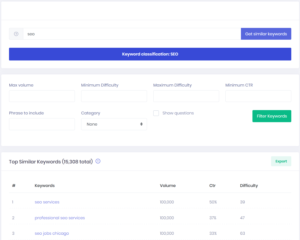 SEO Explorer's Similar keywords tool screenshot