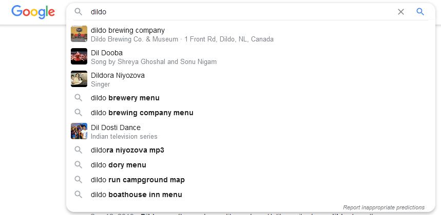 Google dildo auto complete
