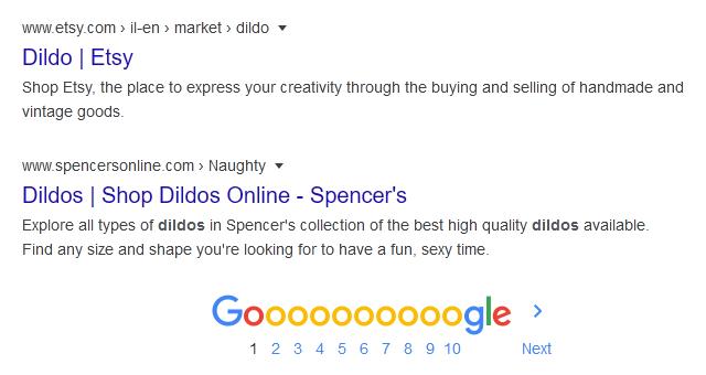Google dildo search