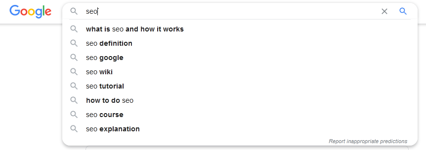 Google SEO auto complete