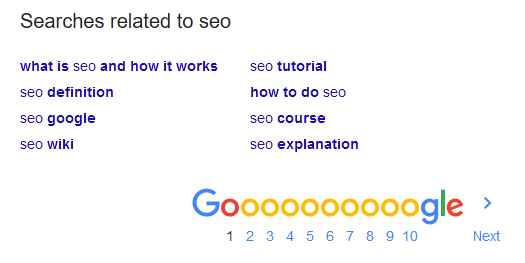 Google SEO search results
