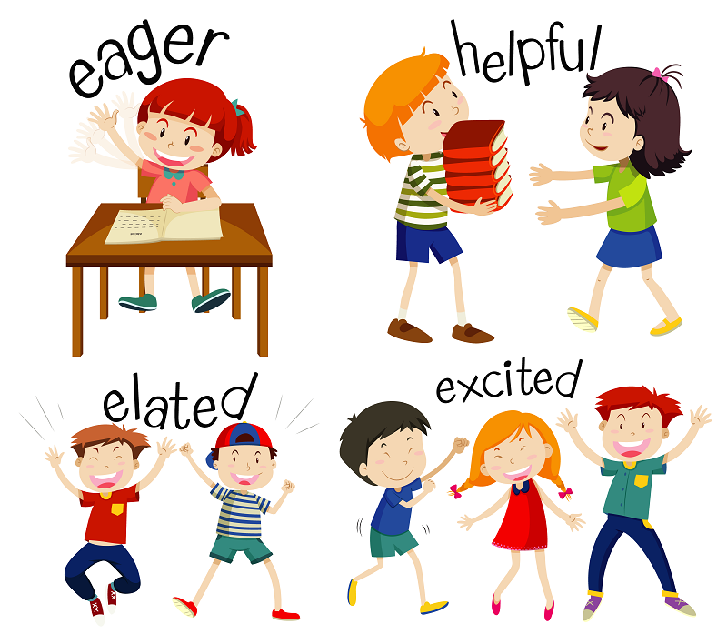 Kids showing strong verbs